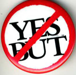 Pin with a red slash across the words Yes But